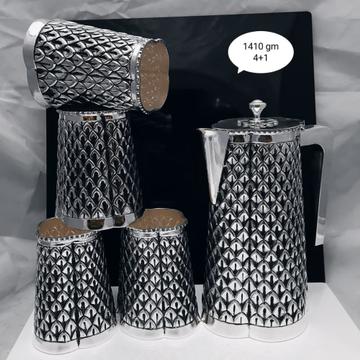 925 pure silver designer Shape jug glasses set pO-...