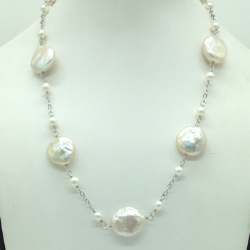 Freshwater White BaroquePearls with Silver Chain...