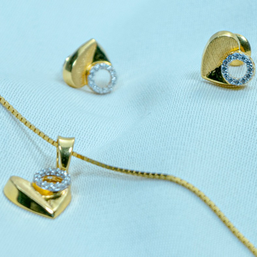 Gold heart design Pendat Chain set ps1-212 by