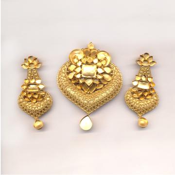 22KT Gold Jadau Pendant Set Khokha OM - N026