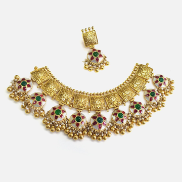 916 Gold Antique Choker Necklace Set RHJ - N006