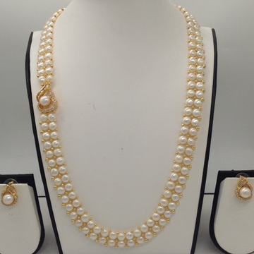 White CZ And Pearl BroachSet With 2Line ButtonJali Pearls Mala JPS0365