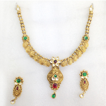 22KT Antique Gold Necklace Set-001