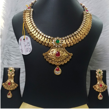 916 Gold Indian Design Bridal Necklace Set