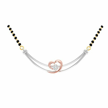 18K White Gold Rose Gold Real Diamond Mangalsutra MGA - RMS001