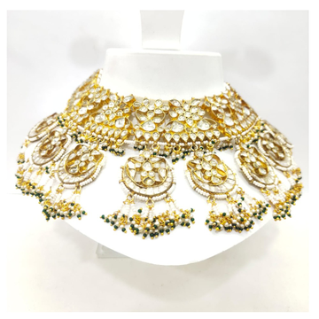 Antique Traditional with full kundan work and hanging black moti necklace set 1595