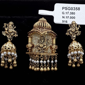 22kt yellow gold gracefull jaipuri pearl ganpati antiq pendent set for women