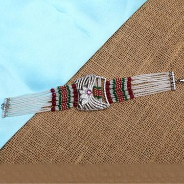 999 Silver Colorful Moti Bracelet For Women PJ-B004