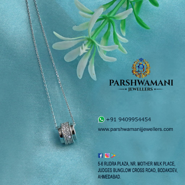 92.5 Silver Cz Pendant With Chain For Women