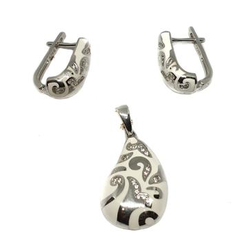 925 sterling silver white meenakari pendant set mga - pts0087