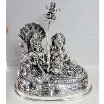 925 Pure Silver Idol of Lakshmi Vishnu On Sheshnag...