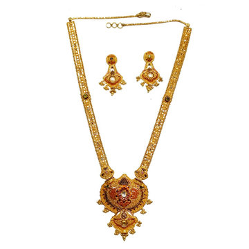 916 Gold Kalkatti Long Necklace Set MGA - GLS047