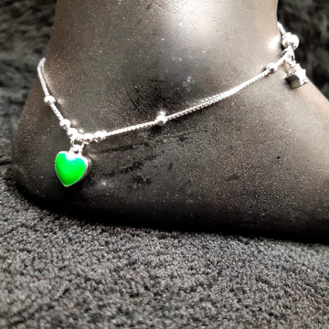 92.5 Sterling Silver Green Heart Charm Anklet For Women