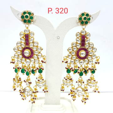 Traditional work with antique kundan and ruby & emerald stone earrings 1576