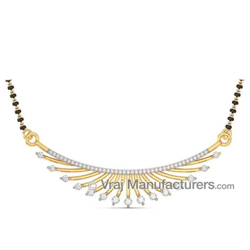 18K Yellow Gold Casting Mangalsutra Pendant with Diamond