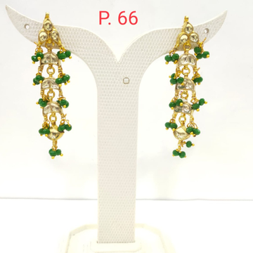 Traditional Gold plated kundan Design with Green Beads long Earring 1538