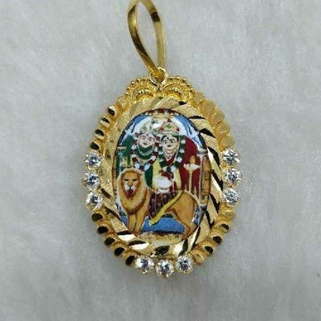 22KT Gold Chamunda Maa Photo Pendant