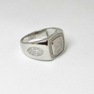 925 Sterling Silver AD Diamond Casual Gents Ring by