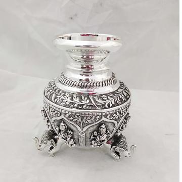 92.5 Pure Silver Lakshmi Vase with Hathi Legs PO-1...