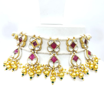 Beautiful with antique design kundan and ruby gold plated necklace set 1601