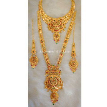 916 Double Gold Bridal Necklace Set