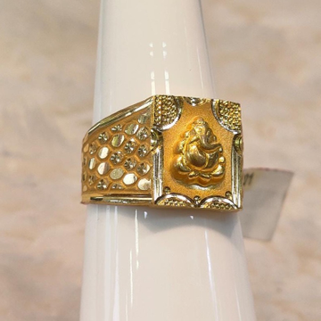 22KT Gold Ganpati Design Ring For Men by Panna Jewellers