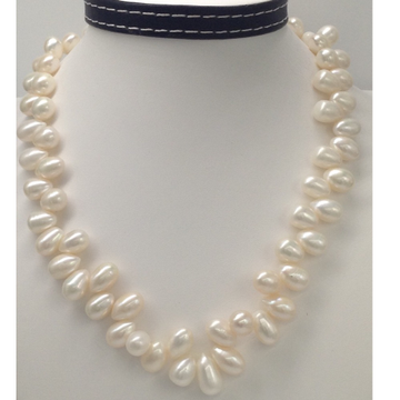Freshwater White Oval Drops Pearls ZigZag Mala