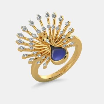 18kt bluestone peacock design diamond ring gk-r09