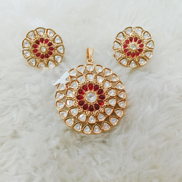 Bikaneri kundan pendent set ruby stone setting goldplated polish 1064