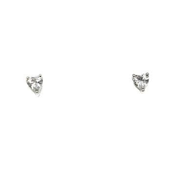 925 Sterling Silver Heart Shaped Solitaire Diamond Earring MGA - BTS1700
