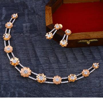 18Ct CZ  Fancy Diamond  Rose Gold Necklace Set RN173