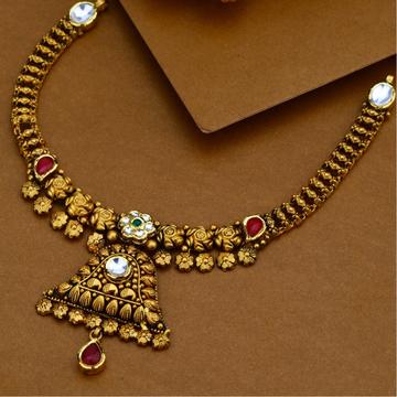 916 Gold Antique Necklace Set For Wedding