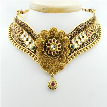 22KT Gold Antique Bridal Necklace Set RHJ-3038