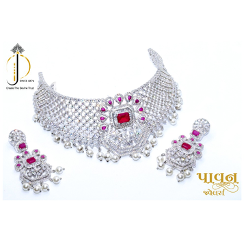 925 starling silver most beautiful bridal choker necklace set sts0001