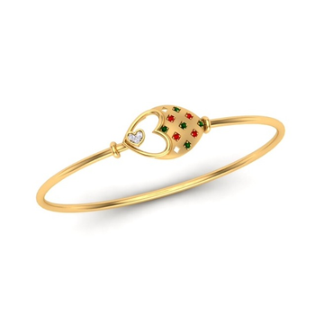 916 Gold CZ Colorful Bracelet SO-B003  by S. O. Gold Private Limited