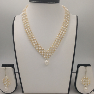 "Freshwater white seed pearls ""v"" jaali necklace set jpp1027"