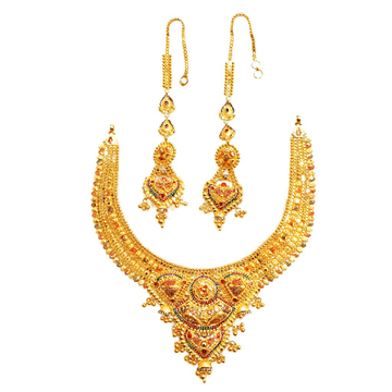 22k Gold Rajwadi Choker  Necklace Set MGA - GN084