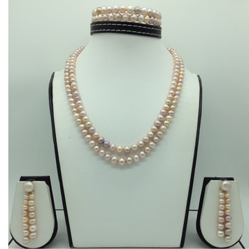 Freshwater PinkRound Graded 2Lines PearlsFull Set JPP1080