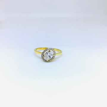FANCY WHITE STONE GOLD RING by