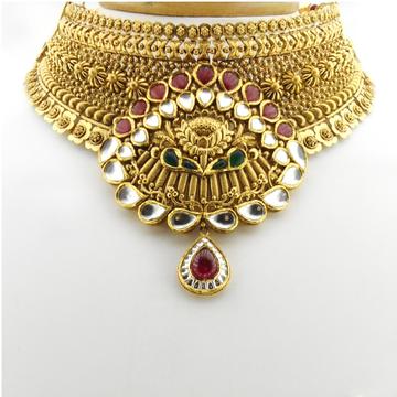 22KT Gold Antique Bridal Necklace Set RHJ-3384
