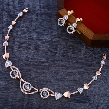 18CT Rose Gold Cz Diamond Necklace Set RN131