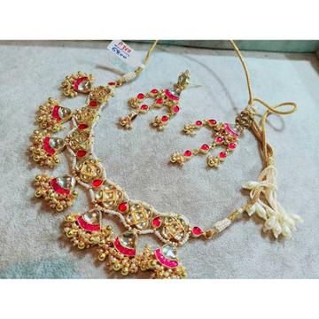 Designer Golden Hanging Ghughri And Pink Kundan's Necklace Set 1082