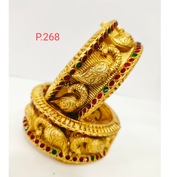 Antique golden peacock work with green and pink color stone & screw openable polish kada 1203