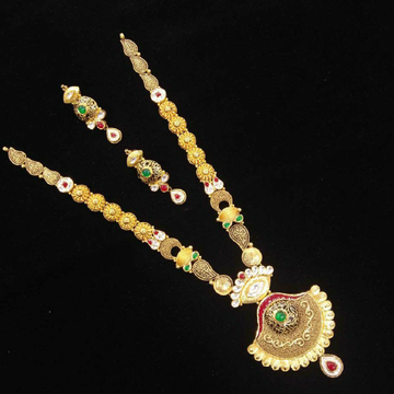 22kt Antique Gold Long Jadtar Necklace Set