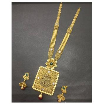 22KT Gold Designer Bridal Squre Long Necklace Set... by Kundan
