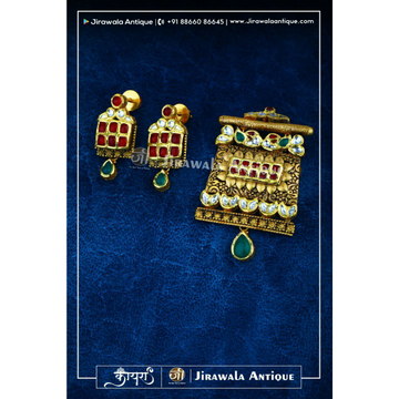 Jesalmeri Antique Jadau Mangasutra Kum Pendant Set With Peacock Work