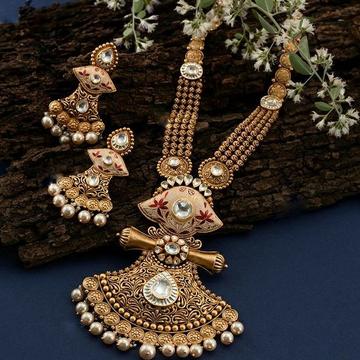 916 Gold antique Bridle Bikaneri mina long Necklac... by