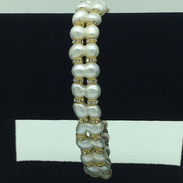 White Twin Pearls And CZ Chakri 2 Layers Bracelet ...