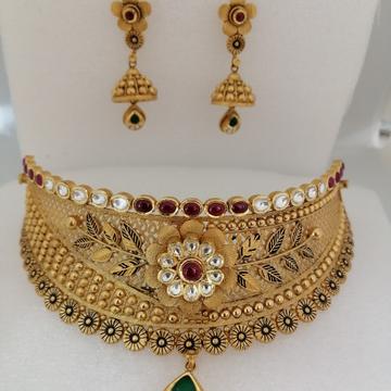 916 gold antique chokkar jadtar set by Vinayak Gold