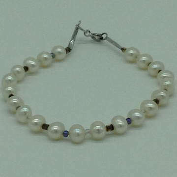 White Potato Pearls With Multi Semi Beeds 1 Layers Bracelet JBG0193